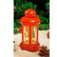 Lanterne Eau lumineuse et paillettes tourbillonnantes LED - H 20 x Ø 9,2 cm - Blanc chaud
