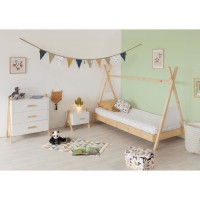 AMAROK Chambre complete enfant - lit + chevet + commode - Pin massif et MDF - Blanc/naturel - Style scandinave