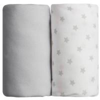 BABYCALIN Lot de 2 draps housse Jersye coton - Gris uni et impression étoile grise - 60 x 120 cm