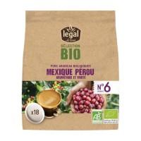 LEGAL Cafés Selection Bio Mexique Perou - 18 Dosettes - 125 g