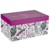Boite a bijoux rectangle - Carton - 18,5 x 12 cm - Rose