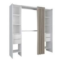 DANA Kit dressing extensible 2 colonnes + 4 tiroirs avec rideau - Décor blanc - L 190 x P 50 x H 203 cm