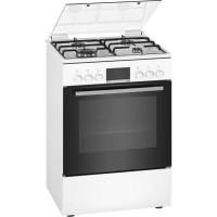 BOSCH HXR39IH20 - Cuisiniere mixte - 3 foyers gaz et 1 wok - Four multifonction full ecoclean - 66 L - A - L 60 cm - Blanc