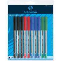 SCHNEIDER - Lot de 10 stylos a bille Tops 505 M - Pointe inox