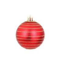 AUTOUR DE MINUIT Set de 6 boules décorées finition matte - Ø6 cm - Rouge