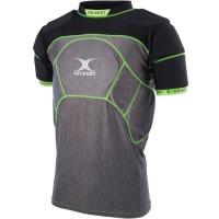 GILBERT Sous-maillot de rugby renforcé CHARGER X1 - 13 zones de protection - Enfant - Noir / Gris / Vert
