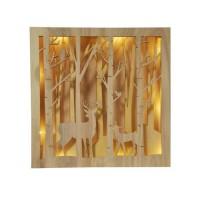 AUTOUR DE MINUIT Scene foret lumineuse en bois - 25 cm