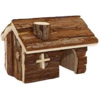 TYROL Chalet 100% écorce de cedre - 14 x 12 x 10 cm - Pour hamster et petits mammiferes