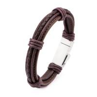 Multi Bracelet Homme Usb/Micro Usb Cuir Marron