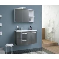 ONDE Meuble de Salle de bain simple vasque L 90cm - Gris brillant
