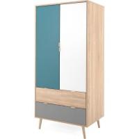 CUBA Armoire 2 tiroirs 2 portes + 1 penderie - Style scandinave - Décor chene Sonoma - L 80 x P 55 x H 170 cm
