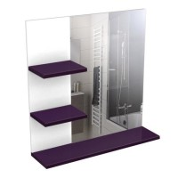 CORAIL Meuble miroir de salle de bain L 60 cm - Aubergine laqué