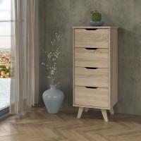 VANKKA Chiffonnier 4 tiroirs - Décor chene Sonoma - L 44 x P 42 x H 108 cm