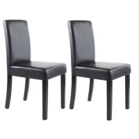 CLARA Lot de 2 Chaises de salle a manger - Simili noir - Classique - L 43 x P 45 cm