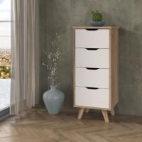 VANKKA Chiffonnier 4 tiroirs - Décor chene et blanc - L 45 x P 42 x H 108 cm
