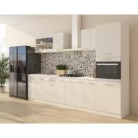 ULTRA Cuisine complete avec colonne four et plan de travail inclus L 300 cm - Blanc brillant