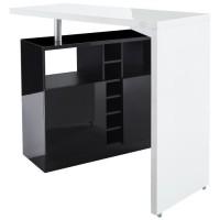 POLY Table bar style contemporain blanc laqué brillant et noir - L 126 x l 52 cm