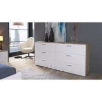 CITY Commode de chambre style contemporain décor chene clair et blanc - L 160 cm