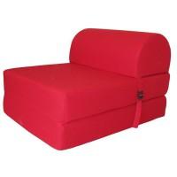 JUNE Chauffeuse 1 place - Tissu rouge - Style contemporain - L 58 x P 75 cm