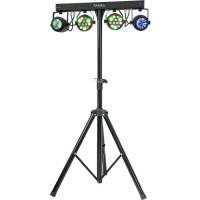 IBIZA DJLIGHT60 Support de lumiere avec 2 projecteurs par RGBW + 2 Moonflower a LED RGBWA