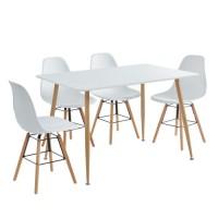 KITTOS Ensemble Table a manger + 4 chaises - Laqué blanc - Style scandinave - L 120 x P 80 x H 72 cm