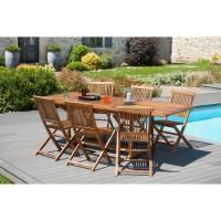 HAVANA Ensemble repas de jardin en bois teck huilé 10 places - Table extensible - Marron
