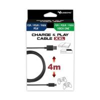 Subsonic - accessoire - cable de recherge micro usb XXL de 4 metres pour manette PS4 et Xbox One