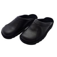 HTC Chaussures Clack routier en cuir - Mixte - Noir