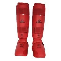 HAYASHI Protege-tibia et pied de karaté officiel WKF - Homme - Rouge
