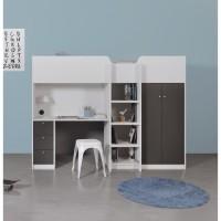 NANTES Lit combiné mezzanine enfant - Blanc/Gris - Sommier inlcus - 90 x 200 cm
