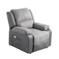 Fauteuil de relaxation releveur RELAX - Simili gris et tissu gris - Massant chauffant - Moteur électrique et lift releveur
