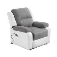 Fauteuil de relaxation releveur RELAX - Simili blanc et tissu gris - Moteur électrique et lift releveur