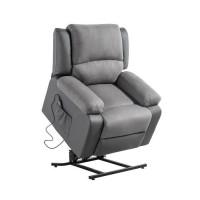 Fauteuil de relaxation releveur RELAX - Simili gris et tissu gris - Moteur électrique et lift releveur