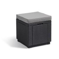 ALLIBERT Tabouret Cube JARDIN Table-pouf avec coussin et rangement intégré - Imitation rotin tressé graphite-Gris