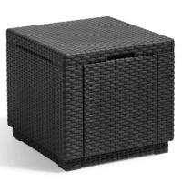 Table cube imitation rotin tressé avec rangement résine gris anthracite de 60L- ALLIBERT