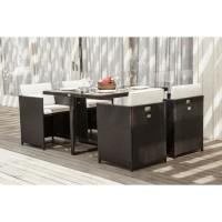DELTA Ensemble repas de jardin resine tressée - Table et 4 fauteuils encastrables - 110 x 110 x 74 cm