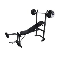 OFITNESS Banc de musculation avec barre + Poids 21 kg inclus