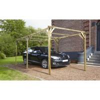 MADEIRA Carport bois pin traité - 1 voiture - 13,41 m²