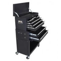 MANUPRO Servante d'atelier a outils 8 compartiments - Coffre malle rangement amovible - Acier - Noir mat
