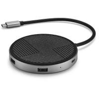 QDOS PowerLink Air Qi USB-C Hub 6-en-1 - Gris Sideral