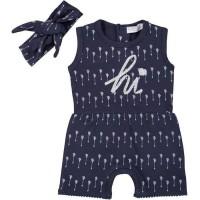DIRKJE Combinaison avec Bandeau Bleu Marine Bébé Fille - Taille 56 cm