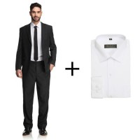 GLOBATEX Costume 2 Pieces + Chemise Offerte Homme - Taille Costume T52 - Chemise T42