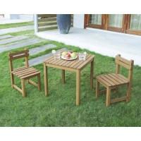 Ensemble repas de jardin pour enfant - table carrée 65x65cm et 2 chaises - En bois - Pour enfant