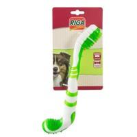 RIGA Brosse a dent - Blanc et vert - Pour chien