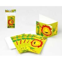 ATOSA Lot de 6 cartes d'invitations - Imprimé animaux de la jungle - 9x15 cm