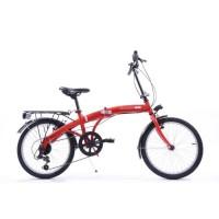 COMPACT vélo pliant rouge cadre en acier 6 vitesses