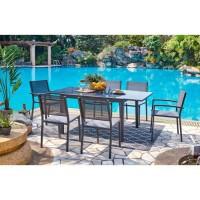 Ensemble repas de jardin - table extensible 120-180cm avec 2 fauteuils et 4 chaises - Gris