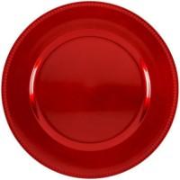 ABS T1904301-RX lot de 6 dessous d'assiettes en pp effet perle d33cm - Rouge