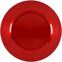 ABS T1904302-RX lot de 6 dessous d'assiettes en pp effet relief circle d33cm - Rouge