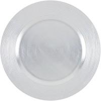 ABS T1904302-AX lot de 6 dessous d'assiettes en pp effet relief circle d33cm - Argent